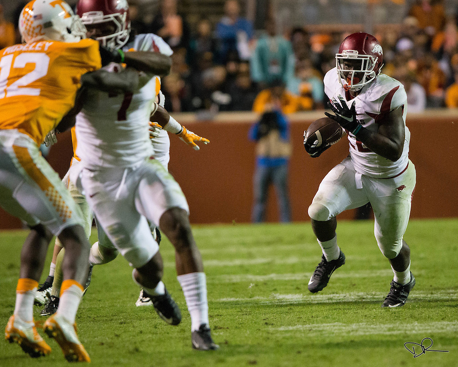 Arkansas running back Rawleigh Williams III carries the ball during an SEC footbal game against  the Arkansas Razobacks at Neyland Stadium on October 13, 2015. Arkansas would go on to win the game 24-20.