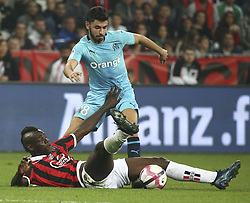 2018?10?22?.    ????????——??????????.    10?21?????????????????????????????.    ????2018-2019???????????????????????1?0?????.    ????????·?????...(SP)FRANCE—NICE-FOOTBALL-LIGUE 1-MARSEILLE VS NICE ..(181022) -- NICE, Oct. 22, 2018  Morgan Sanson (rear) of Marseille vies with Mario Balotelli of Nice during the match of French Ligue 1 2018-19 season 10th round between Marseille and Nice in Nice, France on Oct. 21, 2018. Marseille won 1-0 on the visiting field.  49738 (Credit Image: © Serge Haouzi/Xinhua via ZUMA Wire)