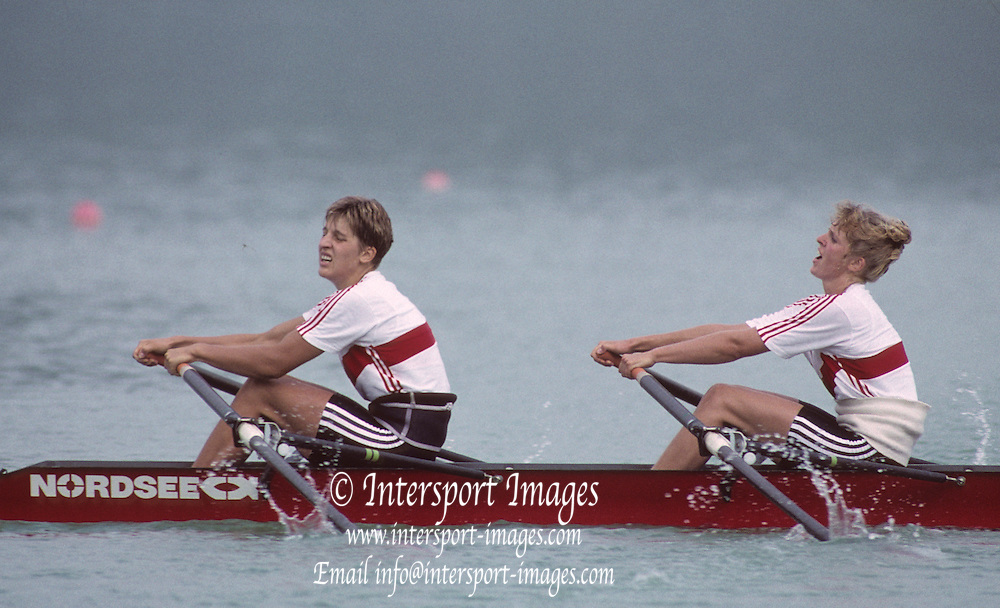 Barcelona, SPAIN.  GER w2X Gold Medalist, stroke Kathrin BORON and Kerstin KOEPPEN. 1992 Olympic Rowing Regatta Lake Banyoles, Catalonia [Mandatory Credit Peter Spurrier/ Intersport Images]
