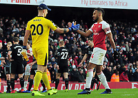 Football - 2018 / 2019 Premier League - Arsenal vs. Burnley<br /> <br /> Joe Hart of Burnley congratulates Pierre - Emerick Aubameyang of Arsenal who scored two goals, at The Emirates.<br /> <br /> COLORSPORT/ANDREW COWIE