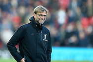 Liverpool Manager Jurgen Klopp looks on smiling  prior to kick off. Premier League match, Liverpool v Sunderland at the Anfield stadium in Liverpool, Merseyside on Saturday 26th November 2016.<br /> pic by Chris Stading, Andrew Orchard sports photography.