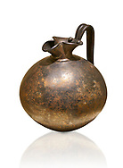 Phrygian bronze trefoil spouted jug from Gordion . Phrygian Collection, 8th century BC - Museum of Anatolian Civilisations Ankara. Turkey. Against a white background .<br /> <br /> If you prefer you can also buy from our ALAMY PHOTO LIBRARY  Collection visit : https://www.alamy.com/portfolio/paul-williams-funkystock/phrygian-antiquities.html  - Type into the LOWER SEARCH WITHIN GALLERY box to refine search by adding background colour, place, museum etc<br /> <br /> Visit our CLASSICAL WORLD PHOTO COLLECTIONS for more photos to download or buy as wall art prints https://funkystock.photoshelter.com/gallery-collection/Classical-Era-Historic-Sites-Archaeological-Sites-Pictures-Images/C0000g4bSGiDL9rw