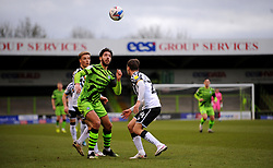 Dan Sweeney of Forest Green Rovers heads the highball- Mandatory by-line: Nizaam Jones/JMP - 16/01/2021 - FOOTBALL - innocent New Lawn Stadium - Nailsworth, England - Forest Green Rovers v Port Vale - Sky Bet League Two