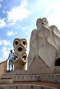 Spain, Barcelona, Casa Milà (La Pedrera) by the architect Antoni Gaudi
