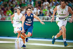 Thomas Heurtel of France and Uros Slokar of Slovenia during friendly match between National teams of Slovenia and France for Eurobasket 2013 on August 31, 2013 in Arena Stozice, Ljubljana, Slovenia. (Photo by Matic Klansek Velej / Sportida.com)