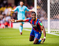 Wilfried Zaha (11) of Crystal Palace, frustrated, gestures  during the Premier League match between Watford and Crystal Palace at Vicarage Road, Watford, England on 21 April 2018. Picture by Sebastian Frej.