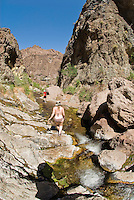Hikers explore The Nevada Hot Springs in The Black Canyon, Nevada.