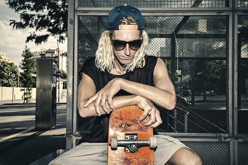 Young skater portrait in urban environment