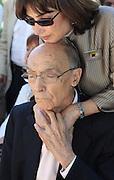Portuguese Nobel writer Jose Saramago with his spanish wife Pilar Del Rio during a homage from saramago's home village Azinhaga (Golegã)<br /> Foto Paulo Cunha