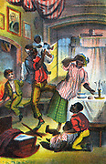 Harriet Beecher Stowe 'Uncle Tom's Cabin' first published 1852. Scene in Uncle Tom's happy home where 'Mas'r George' has come to give Tom an illegal reading and writing lesson. Chromolithograph c1870