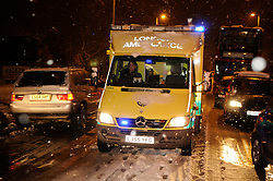 © under license to London News Pictures. 30.11.2010 Time 7pm An Ambulance trying to get through,   Traffic stuck on Sevenoaks Way, Orpington, Kent.  Some drivers have been stuck on this stretch of road(from Cray Avenue and Court Road) for four hours. Picture credit should read Grant Falvey/London News Pictures