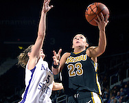 Missouri guard Blair Hardiek (23) drives to the basket and scores past Kansas State guard Shalee Lehning (5) during the first half at Bramlage Coliseum in Manhattan, Kansas, January 13, 2007.  K-State beat the Tigers 81-66.