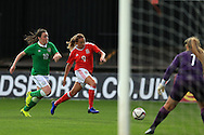 Kayleigh Green of Wales © breaks into the box. Friendly International Womens football, Wales Women v Republic of Ireland Women at Rodney Parade in Newport, South Wales on Friday 19th August 2016.<br /> pic by Andrew Orchard, Andrew Orchard sports photography.