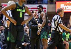 Jan 21, 2019; Morgantown, WV, USA; Baylor Bears head coach Scott Drew talks with Baylor Bears guard Mario Kegler (4) after a technical foul during the first half against the West Virginia Mountaineers at WVU Coliseum. Mandatory Credit: Ben Queen-USA TODAY Sports