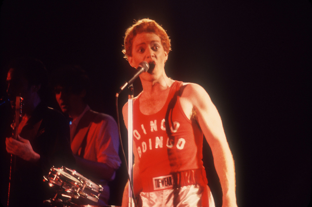 Danny Elfman of the Mystic Knights of the Oingo Boingo, as they were originally named. This photo was taken at the ROxy Theater in Hollywood, California, in 1978.