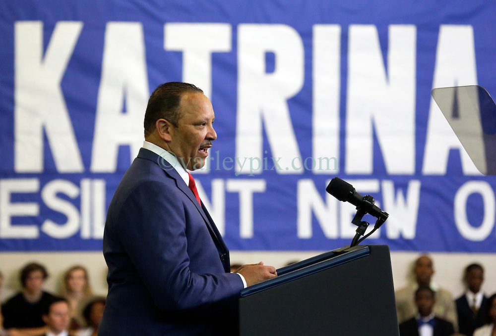 27 August 2015. Andrew P. Sanchez & Copelin-Byrd Multi Service Center, Lower 9th Ward, New orleans, Louisiana.<br /> Marc Morial, president of the National Urban League and former Mayor of New Orleans addresses the crowd ahead of President Barack Obama. <br /> Photo credit©; Charlie Varley/varleypix.com.