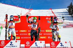 Marte Monsen (NOR), Zrinka Ljutic (CRO), Kaja Norbye (NOR) at award ceremony after giant slalom race at FIS European Cup Krvavec 2021, February 2, 2021 in Krvavec, Cerklje na Gorenjskem, Slovenia. Photo by Matic Klansek Velej / Sportida