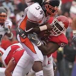 Sep 27, 2008; Piscataway, NJ, USA; Rutgers defensive end Jamaal Westerman (90) tackles Morgan State running back Devan James during Rutgers 38-0 victory over the Morgan State Bears.