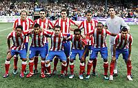 Fotball , 4. august 2011, Europa League 3rd. Qual<br /> Strømsgodset - Atletico Madrid 0-2<br /> <br /> lagbilde<br /> Atletico Madrid<br /> Joel , A. Lopez , Forlan , Assuncao , Gabi , Salvio , Silvio , Dominguez , Reyes , Perea<br /> team picture