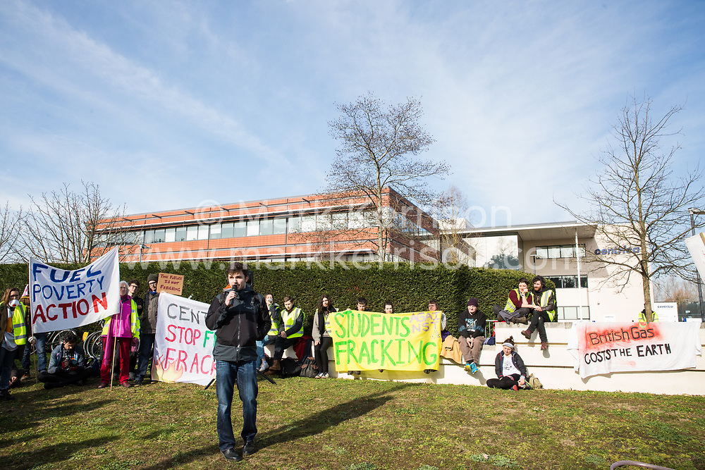 Windsor, UK. 22nd February, 2019. Rob Noyes of Fuel Poverty Action addresses around 60 campaigners from Reclaim the Power and Fuel Poverty Action who set up a mock fracking site during a family-friendly protest outside the headquarters of Centrica to call on the British multinational energy and services company to cease its support for fracking operations through its partnership with shale gas company Cuadrilla Resources.