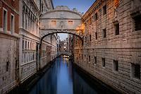 VENICE, ITALY - CIRCA MAY 2015: Bridge of Sighs at dusk in San Marco, Venice.