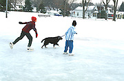 Kids age 11 being pulled on skates by dog at Bracket Park Minneapolis Minnesota USA