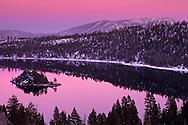 Winter evening light over Emerald Bay, Lake Tahoe, California
