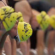 Lisbeth Trickett (bottom) at the start of the women's freestyle during the Skins meet directly after the Australian Swimming Championships and Selection Trials for the XIII Fina World Championships held at Sydney Olympic Park Aquatic Centre, Sydney, Australia on March 24, 2009. Photo Tim Clayton