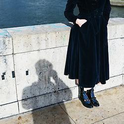 Paris, France. february 24, 2017. Sylvia Whitman, posing on the Pont de la Tournelle. Photo: Antoine Doyen