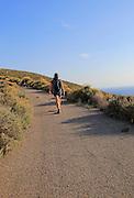 Woman walking Rodalquilar, Cabo de Gata natural park, Almeria, Spain