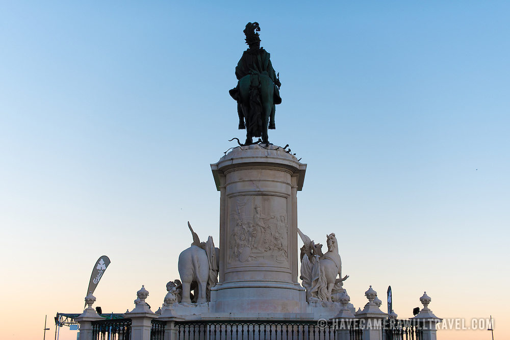 LISBON, Portugal - Statue of King Joseph I (1714-1777) by sculptor Joaquim Machado de Castro. It stands in the middle of the Praça do Comércio. Known as Commerce Square in English, Praça do Comércio is an historic square in the Pombaline Downtown district of Lisbon, next to the Tagus River.