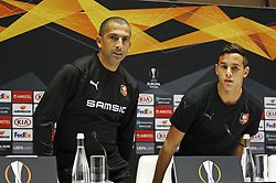 November 7, 2018 - Kiev, Ukraine - Rennes' French coach Sabri Lamouchi (L) and player Mehdi Zeffane (R) arrive at a press-conference in Kiev, Ukraine, 07 November, 2018. Rennes will play against Dynamo Kyiv at the UEFA Europa League Group K second-leg football match at the Olympiyskiy Stadium in Kiev, on November 08. (Credit Image: © Str/NurPhoto via ZUMA Press)