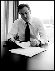 The Prime Minister David Cameron going through his speech in the green room at the Conservative Party Spring Forum in Cardiff, Sunday March 6, 2011. Photo By Andrew Parsons / i-Images.