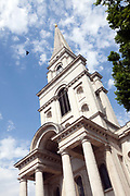 Christ Church, Spitalfields.<br /> Christ Church was built between 1714 and 1729 as part of the  Fifty New Churches Act of 1711, backed by Queen Anne, who was keen to 'bring religion to the godless masses of London. Designed by Nicolas Hawksmoor it is one of the most iconic churches in London.