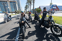 Leticia Cline, Dana Cooley and the Iron Lillies riding north on A1A  for the Hot Leathers ride during the Daytona Bike Week 75th Anniversary event. FL, USA. Tuesday March 8, 2016.  Photography ©2016 Michael Lichter.