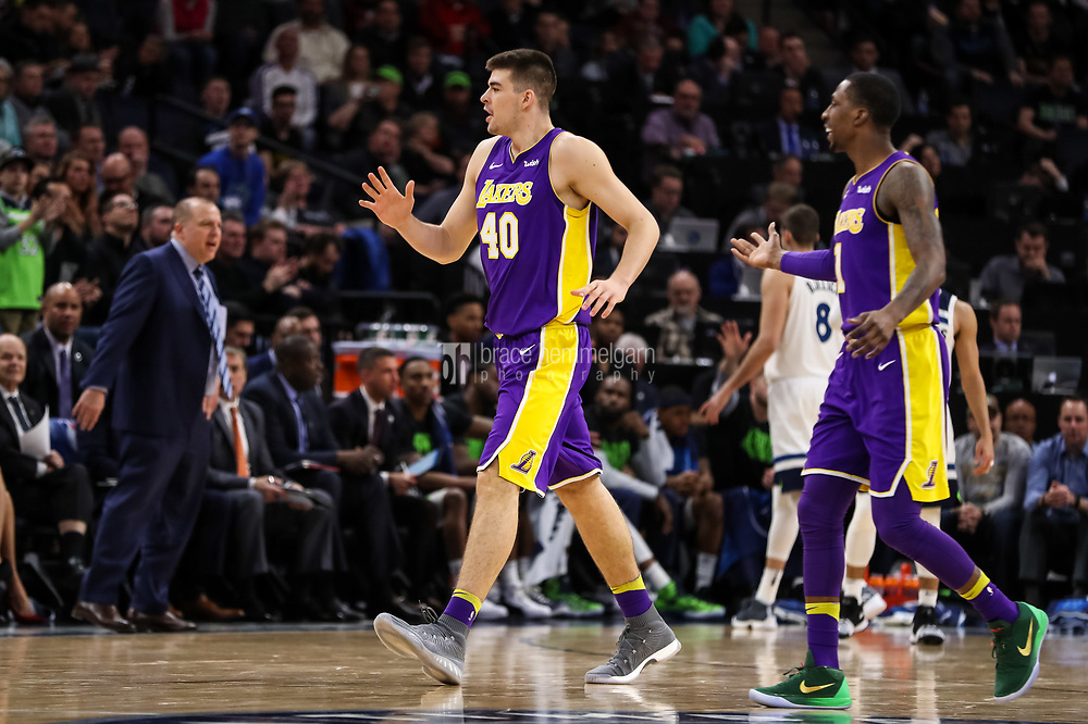 Feb 15, 2018; Minneapolis, MN, USA; Los Angeles Lakers center Ivica Zubac (40) during a game between the Minnesota Timberwolves and Los Angeles Lakers at Target Center. Mandatory Credit: Brace Hemmelgarn-USA TODAY Sports