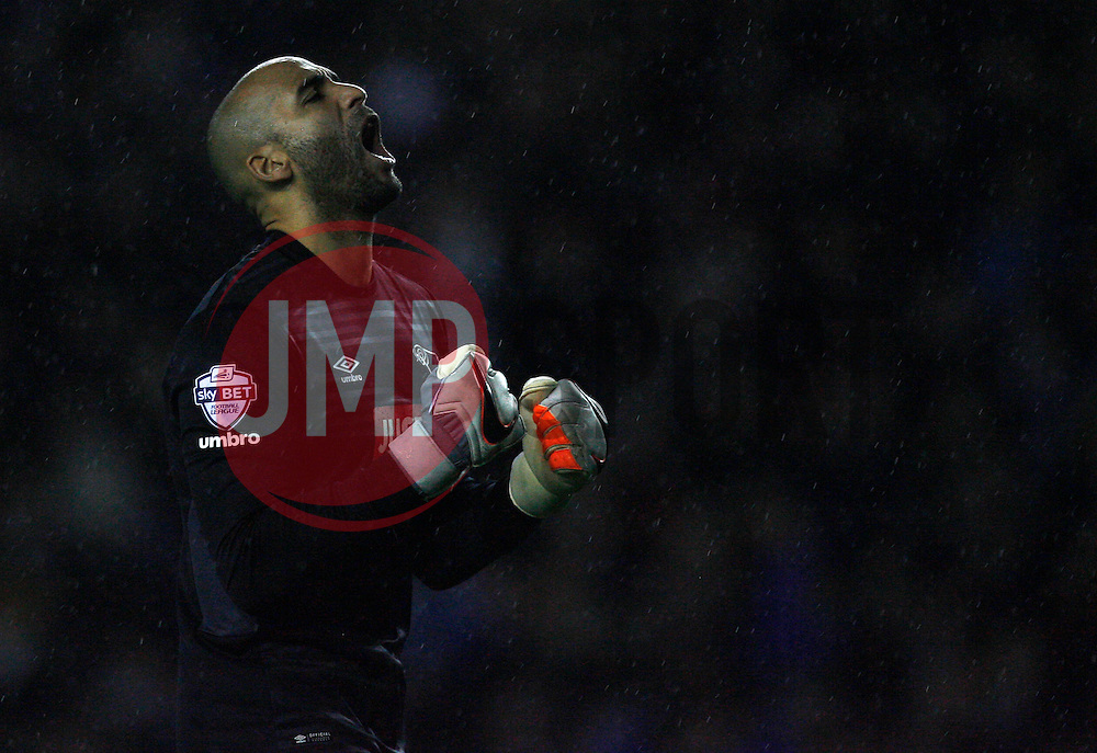 Lee Grant of Derby County celebrates after Chris Martin (Not Pictured) scores his sides second goal from the penalty spot - Mandatory byline: Jack Phillips / JMP - 07966386802 - 12/12/2015 - FOOTBALL - The iPro Stadium - Derby, Derbyshire - Derby County v Brighton & Hove Albion - Sky Bet Championship