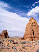 The Temple of the Moon (right) and the Temple of the Sun (left), with Cedar Mountain in the background, Capitol Reef National Park, Utah.