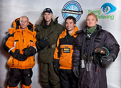 © Licensed to London News Pictures. FILE PIC DATED 17/09/2012. London, United Kingdom ..(L-R) The Ice Team, Brian Newham, Sir Ranulph Fiennes, Spencer Smirl and Ian Prickett. Press call to announce Sir Ranulph Fiennes will be leading a team to take on the last remaining polar challenge by attempting to cross Antarctica. Sir Ranulph Fiennes is to be evacuated from the Antarctic after suffering severe frostbite during 2,400-mile expedition crossing the Antarctica. Photo credit : Chris Winter/LNP