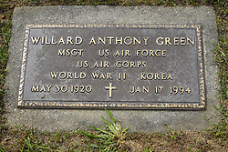 31 August 2017:   Veterans graves in Park Hill Cemetery in eastern McLean County.<br /> <br /> Willard Anthony Green Master Sergeant US Air Force US Air Corps World War II Korea  May 30 1920  Jan 17 1994