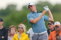 May 20, 2018 - Dallas, TX, U.S. - DALLAS, TX - MAY 20:  Jordan Spieth of the United States lets go of his club after hitting his tee shot on #3 during the final round of the 50th annual AT&T Byron Nelson on May 20, 2018 at Trinity Forest Golf Club in Dallas, TX.  (Photo by Andrew Dieb/Icon Sportswire) (Credit Image: © Andrew Dieb/Icon SMI via ZUMA Press)