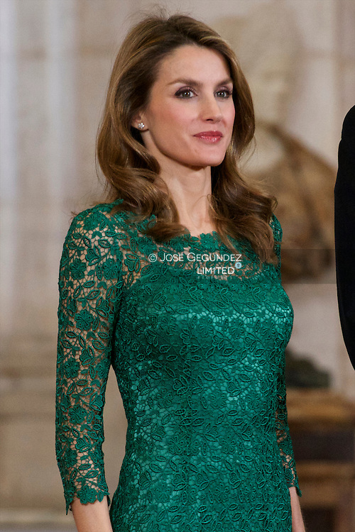Spanish Royals Princess Elena, Princess Letizia, Prince Felipe and Queen Sofia receive International Olympic Committee Evaluation Commission Team for a dinner at the Royal Palace on March 20, 2013 in Madrid, Spain