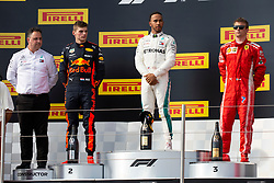 The podium of Grand Prix de France 2018 (L-R): Ron Meadow (Mercedes team manager), Max Verstappen from Holland (Aston Martin Red Bull racing) 2nd classified, Lewis Hamilton from UK (Mercedes AMG Petronas Motorsport) 1st classified, Kimi Raikkonen from Finland (Scuderia Ferrari) 3rd classified, Le Castellet on June 24th, 2018. Photo by Marco Piovanotto/ABACAPRESS.COM