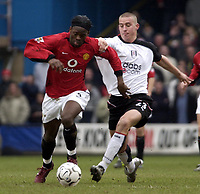 Picture: Henry Browne.<br /> Date: 28/02/2004.<br /> Fulham v Manchester United FA Barclaycard Premiership.<br /> <br /> Louis Saha of United shrugs off Fulham's Sean Davis.<br /> <br /> NORWAY ONLY