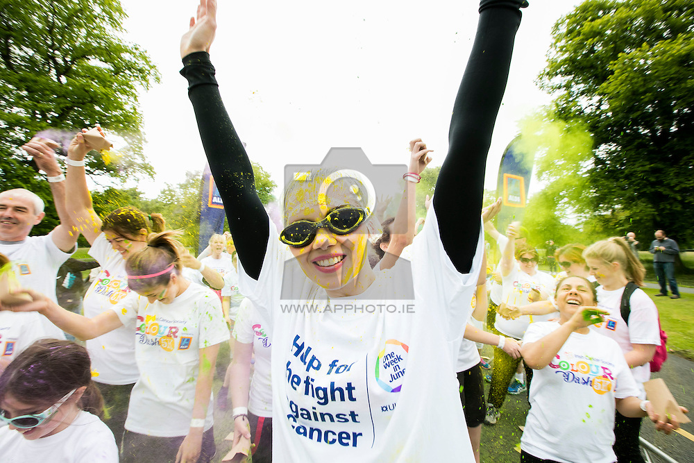 Repro Free: 18/06/2016 Helen Smith pictured in Phoenix Park, Dublin taking part in the Irish Cancer Society's Colour Dash sponsored by Aldi and supported by Spin 1038. 4,500 took part in the annual 5k event which see's participants covered in coloured paint representing different types of cancer and cancer survivorship as they run the course. Money raised from Colour Dash will go towards the Irish Cancer Society's work to help people reduce their risk of getting cancer, to support those living with cancer and to fund on-going cancer research. For more information or to register for Colour Dash in Sligo on July 24th visit www.cancer.ie Picture: Andres Poveda