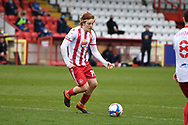 Stevenage midfielder Arthur Read (19) attacking during the EFL Sky Bet League 2 match between Stevenage and Carlisle United at the Lamex Stadium, Stevenage, England on 20 March 2021.
