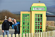 Chris O'Sullivan and Gene Young from Cahersiveen with the newly installed 'old Telephon' box in his driveway..Picture by Don MacMonagle.Story by john O'Mahony