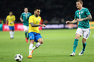 Dani Alves (Brazil) and Tony Kroos (Germany) during the International Friendly Game football match between Germany and Brazil on march 27, 2018 at Olympic stadium in Berlin, Germany - Photo Laurent Lairys / ProSportsImages / DPPI