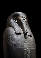 Ancient Egyptian greywacke sarcophagus of Vizier Gemenefherbak - late Period, 26th Dynasty (664-525BC). Egyptian Museum, Turin. black background<br /> <br /> Gemenefherbak was a vizier, minister, as indicated by a pendant picturing the goddess Maat hanging around his neck in the shadow of his beard. Despite the hardness of the greywacke stone the sarcophagus is made from, its makers have shown incredible skill creating a sarcophagus with intricate detail and a highly polished finish. .<br /> <br /> If you prefer to buy from our ALAMY PHOTO LIBRARY  Collection visit : https://www.alamy.com/portfolio/paul-williams-funkystock/ancient-egyptian-art-artefacts.html  . Type -   Turin   - into the LOWER SEARCH WITHIN GALLERY box. Refine search by adding background colour, subject etc<br /> <br /> Visit our ANCIENT WORLD PHOTO COLLECTIONS for more photos to download or buy as wall art prints https://funkystock.photoshelter.com/gallery-collection/Ancient-World-Art-Antiquities-Historic-Sites-Pictures-Images-of/C00006u26yqSkDOM