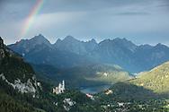 Rainbow over Neuschwanstein Castle, Schwangau, Bavaria, Germany